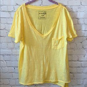 Free People V-Neck Short Sleeve Shirt